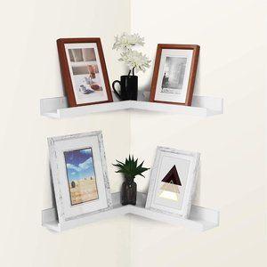 WELLAND Corner Picture Ledge Set of 2, White